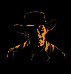man with cowboy hat silhouette in backlight vector image