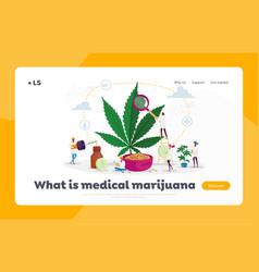 Marijuana medicine landing page template vector