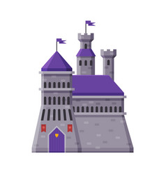 Medieval fortress fairytale castle with towers vector