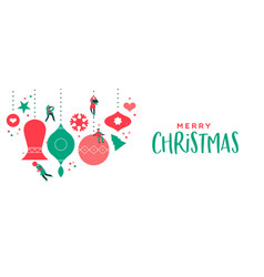 merry christmas banner cute people ornament bauble vector image