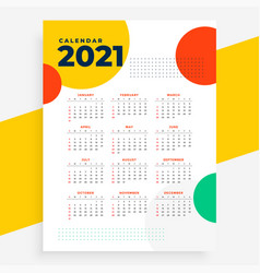 New year 2021 calendar design in circles style vector