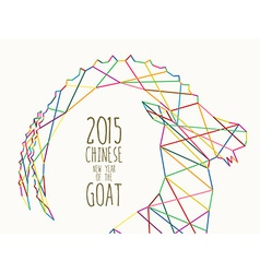 New year of the goat 2015 colorful line vector
