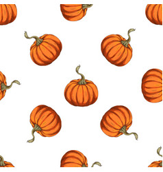 orange pumpkins seamless pattern vector image
