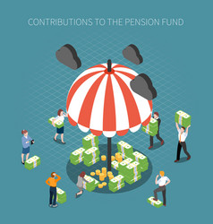 pension fund contributions composition vector image