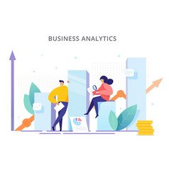 people are near graphs and analyze company vector image