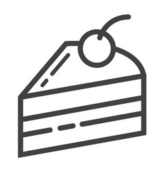 piece of cake line icon food and drink vector image