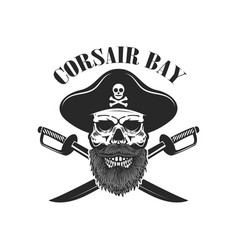 Pirate skull with crossed sabers design elements vector