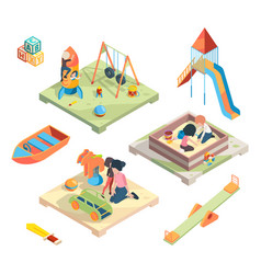 playground isometric place for funny games kids vector image