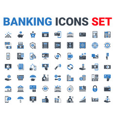 set banking icons glyph for mobile and web apps vector image