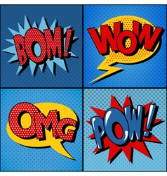 Set comics bubbles in vintage style vector
