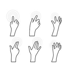 Set hands user touch screen vector