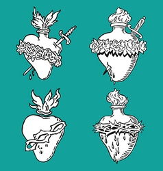 set heart blessed virgin mary tattoo vector image