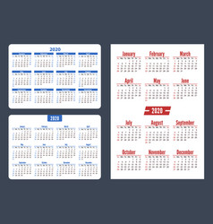 set horizontal and vertical pocket calendar on vector image