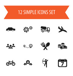 Set of 12 editable mixed icons includes symbols vector