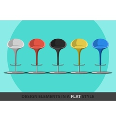 Set of colored stools in a flat style vector