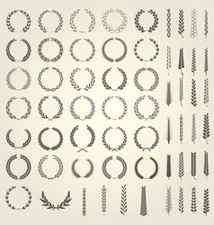 Set of laurel wreaths and ears of wheat vector