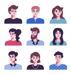 set of positive men and women avatar icons vector image