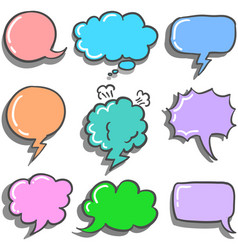 Set of speech bubble style colorful vector