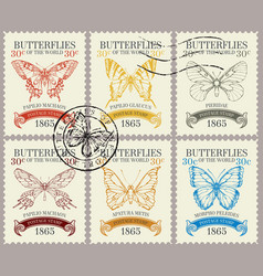 set retro postage stamps with various vector image