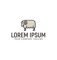 sheep logo minimalist design concept template vector image