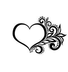 Silhouette heart lace flowers vector
