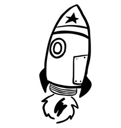 Simple black and white rocket vector