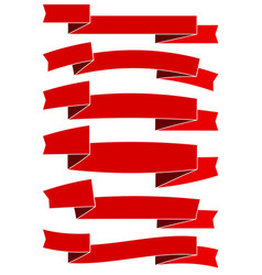 six red cartoon ribbons for web design vector image