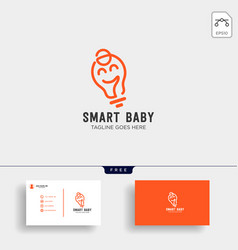 smart baby or kids outline logo template with vector image