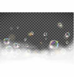 Soap foam with bubbles isolated on transparent vector