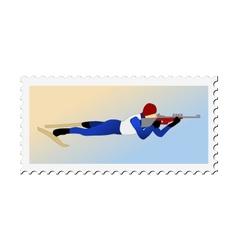 Stamp with image of biathlon vector