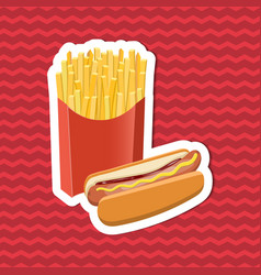 sticker of hot dog and fries on red striped vector image