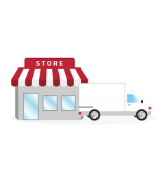 store and white truck vector image