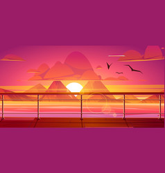 sunset in ocean mountains view from ship deck vector image