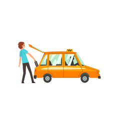 Taxi service man putting luggage in car cartoon vector
