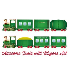 Train With Wagons Green Locomotive with Red Wheels vector