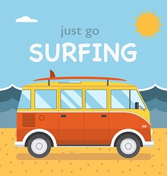 Travel surfing coach bus on summer beach vector