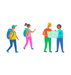 travelers group walking with map backpackers vector image