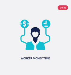 Two color worker money time icon from business vector