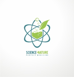 Unique symbol design with leaf and atom vector image