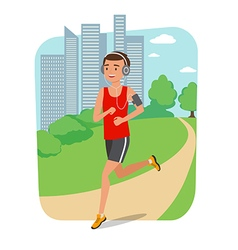 Urban sports Young man jogging for fitness in the vector