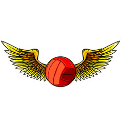 volleyball ball logo with long wings in blue vector image