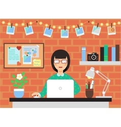 Woman With Laptop vector image