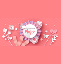 Womens day spanish pink paper cut flower card vector