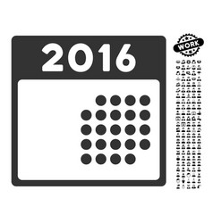 2016 month calendar icon with men bonus vector
