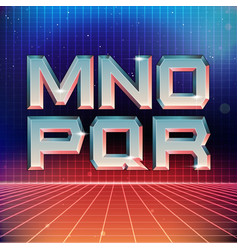 80s Retro Futuristic Font from M to R vector image vector image