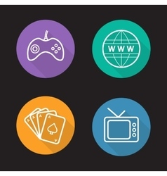 Addictions linear icons set vector image