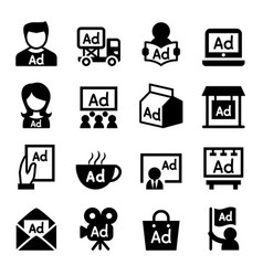 advertising icon set vector image