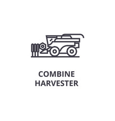 combine harvester line icon outline sign linear vector image vector image