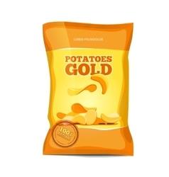 Crisp potato chips snacks bag package vector image