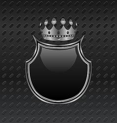 heraldic shield and crown on metallic background - vector image
